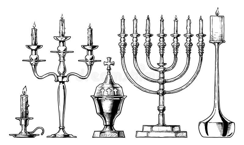 Vektorillustrationuppsättning av ljusstakar vektor illustrationer