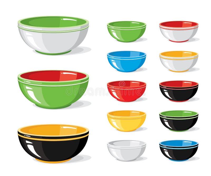 Vektorillustrationuppsättning av matsymboler Olikt färgglat tömmer bunkar på en vit bakgrund Matlagningsamling royaltyfri illustrationer