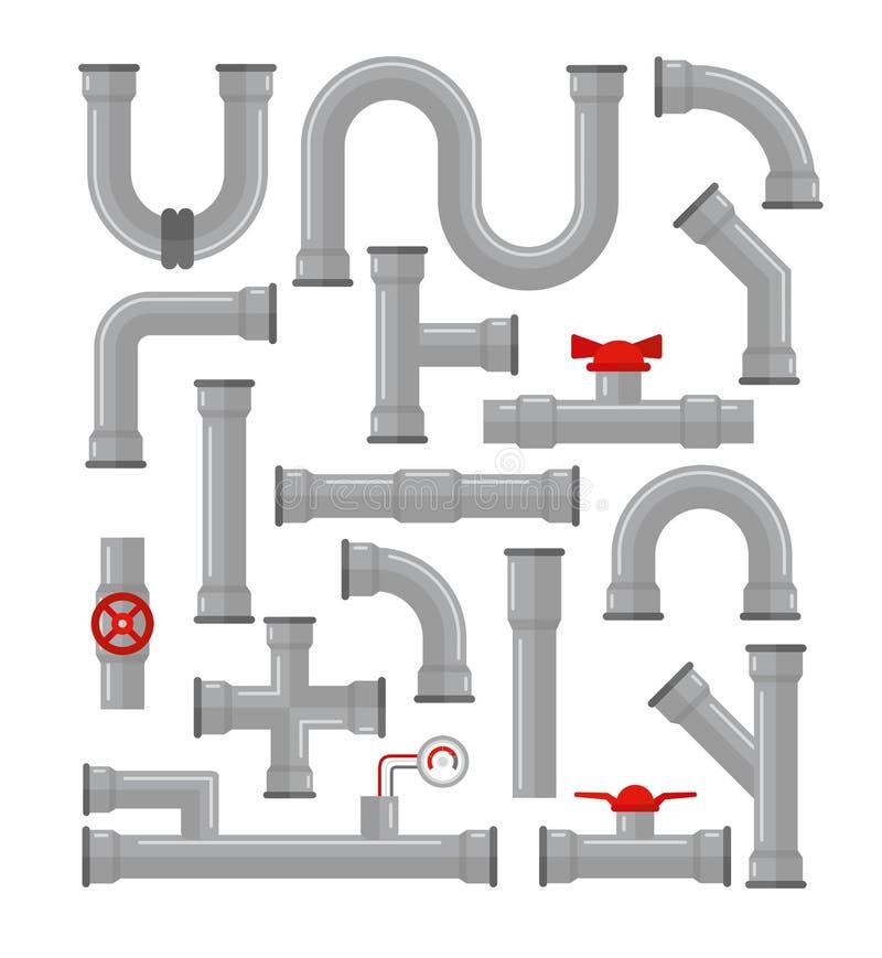Vektorillustrationuppsättning av olika typer för rör som isoleras på vit bakgrund Vattenrör, beståndsdelar för gasventil stock illustrationer