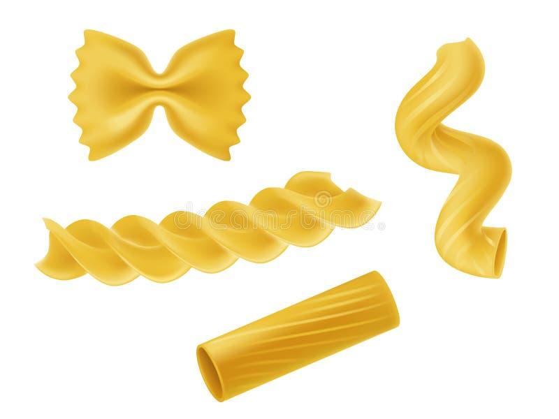 Vektorillustrationuppsättning av realistiska symboler av torr makaroni, pasta av olika slag royaltyfri illustrationer