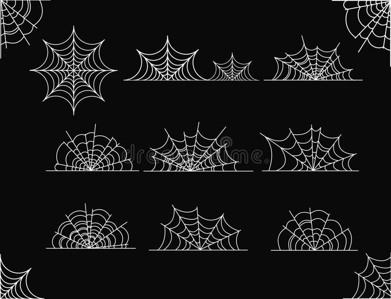 Vektorillustrationuppsättning av spindelrengöringsduk av olika former på svart bakgrund stock illustrationer