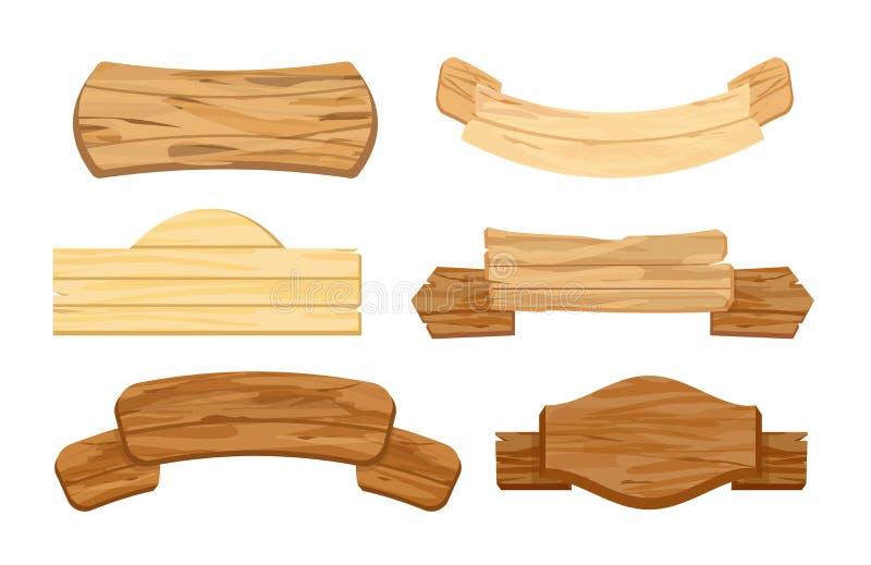 Vektorillustrationuppsättning av träplankor eller skyltar Retro tappningbaner Tecken eller pekare, vägvisare på öknen stock illustrationer