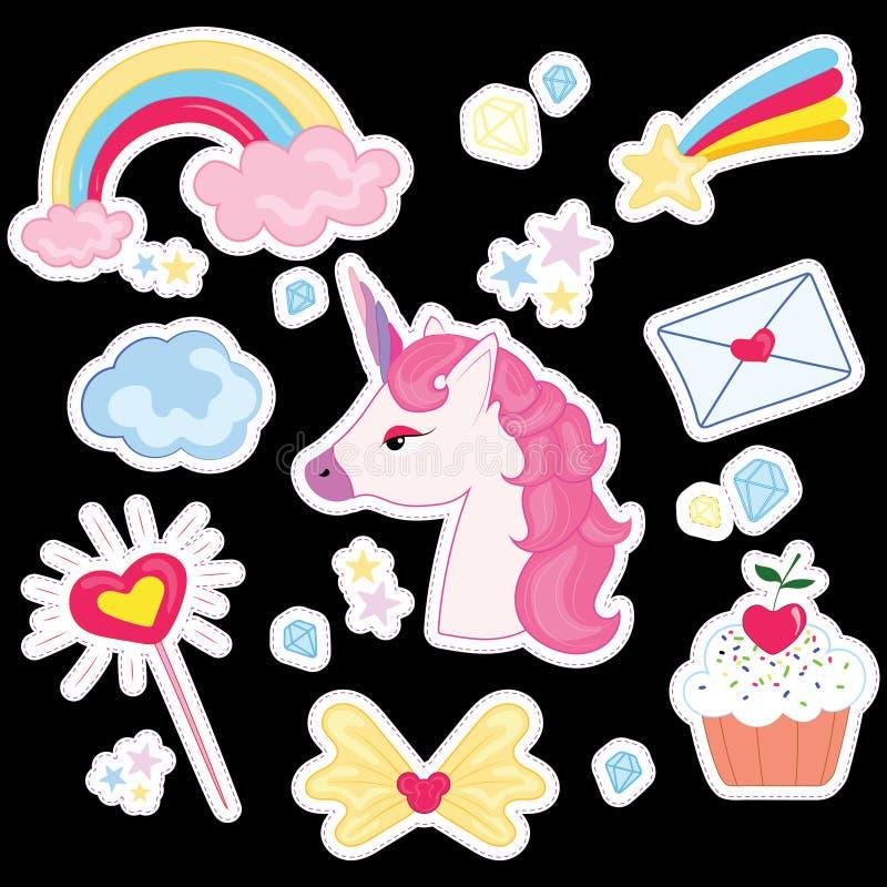 Vektorillustrationuppsättning för flicka Samling av stiliserade teckningar för prinsessan unicorn Regnbåge stock illustrationer