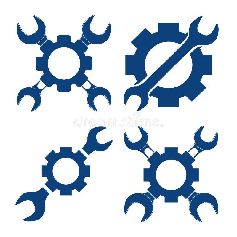 Vektorillustrationuppsättning som är mekanisk med den arga skiftnyckeln och pinio stock illustrationer