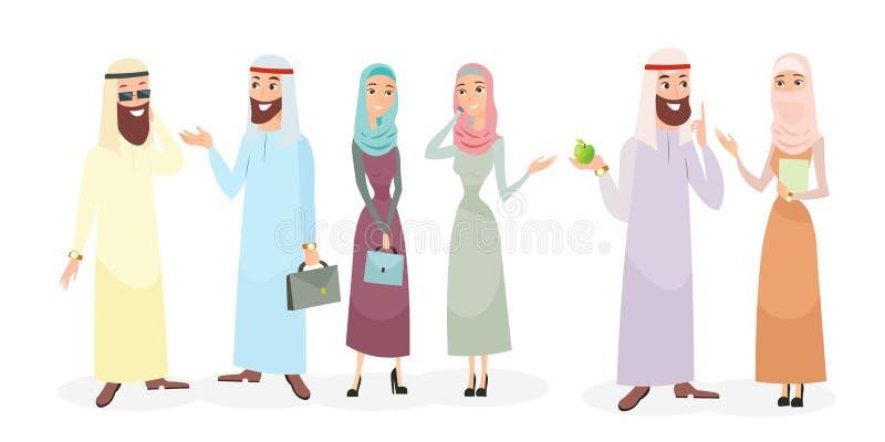 Vektorillustrationuppsättningen av arabiska tecken för affärsfolk i olikt poserar Arabisk affärsman och affärskvinna stock illustrationer