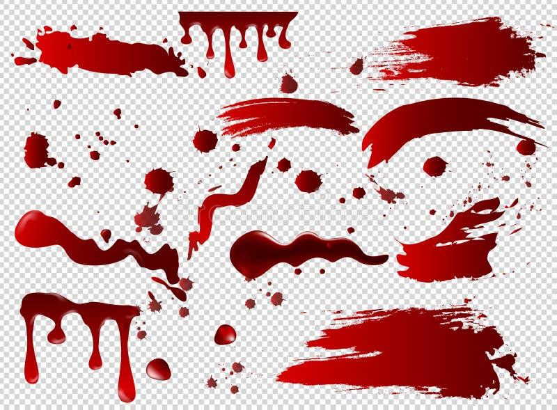 Vektorillustrationuppsättningen av blodfläckar, sudd, spillde röd målarfärg, målarfärg plaskar Allhelgonaaftonbegrepp, färgpulver vektor illustrationer