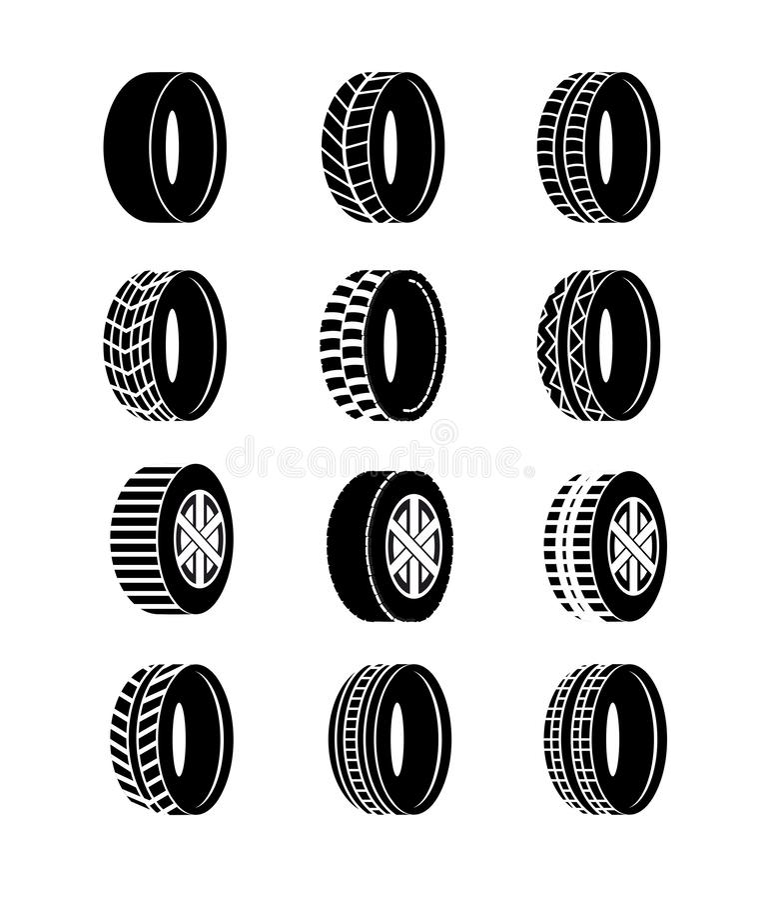 Vektorillustrationuppsättningen av gummihjul- och hjulsvart färgar symboler på vit bakgrund Olika symboler och logoer för hjuldäc stock illustrationer