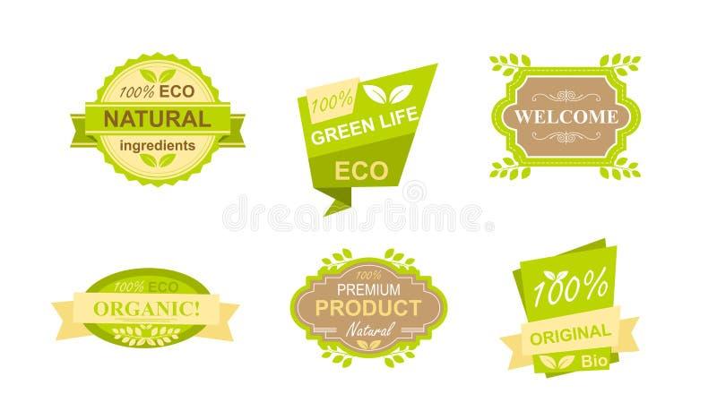 Vektorillustrationuppsättningen av klistermärkear och emblem för naturlig organisk mat, brukar nya produkter, strikt vegetarianre stock illustrationer