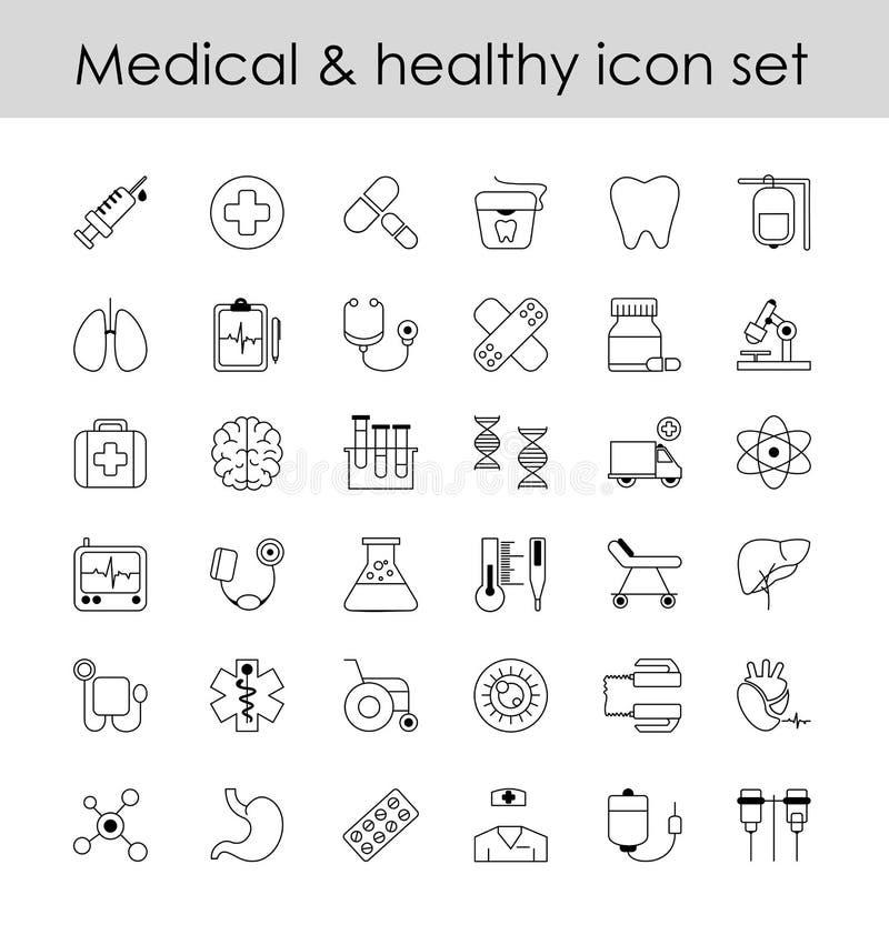 Vektorillustrationuppsättningen av linjen symboler, undertecknar in linjen designmedicin Moderna beståndsdelar för samling av far stock illustrationer