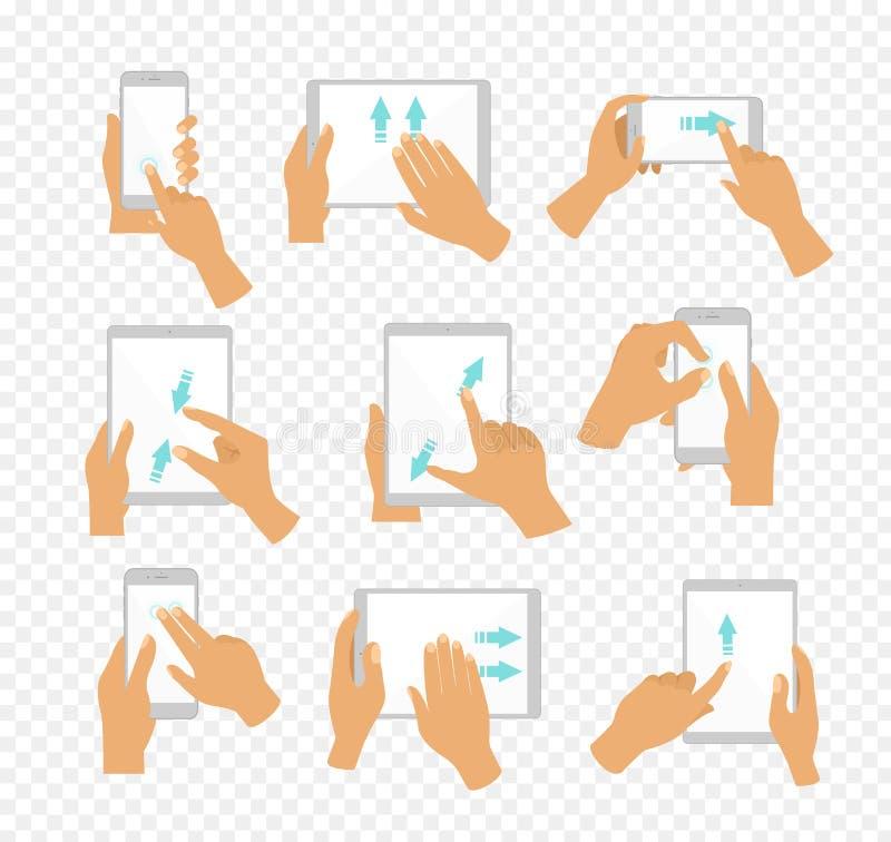 Vektorillustrationuppsättningen av plana handsymboler som visar gemensamt använt mång--handlag, gör en gest för pekskärmminnestav royaltyfri illustrationer