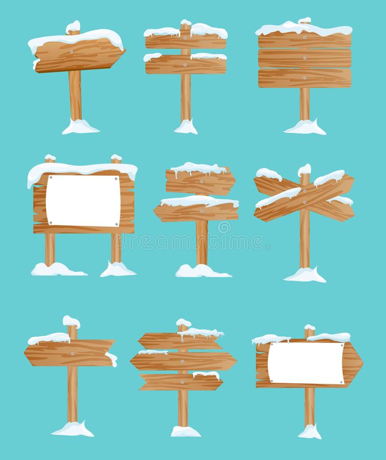 Vektorillustrationuppsättningen av trägatan undertecknar in snön, pekare samlingen, vintern, insnöad plan stil royaltyfri illustrationer