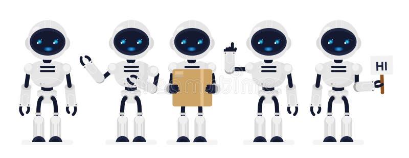 Vektorillustrationuppsättningen av vit färg för gulliga robotar i olikt poserar i plan tecknad filmstil royaltyfri illustrationer