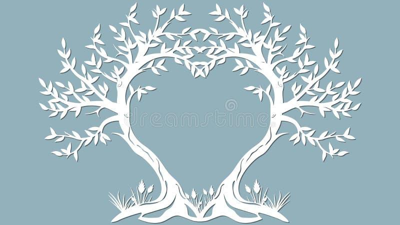 Vektorillustrationvykort Inbjudan- och hälsningkort med träden i form av en hjärta Modell för laser-snittet, royaltyfri illustrationer