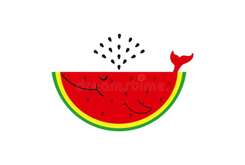 Vektorillustrationwal, Wassermelone Netter Lächelnwassermelonenwal mit dem Samenbrunnen lokalisiert auf weißem Hintergrund stock abbildung