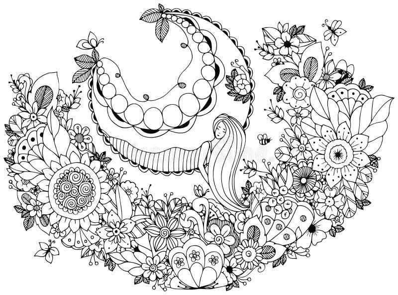 VektorillustrationZen Tangle flicka på en gunga i blommorna Anti-spänning för färgläggningbok för vuxna människor Färga sidan vektor illustrationer