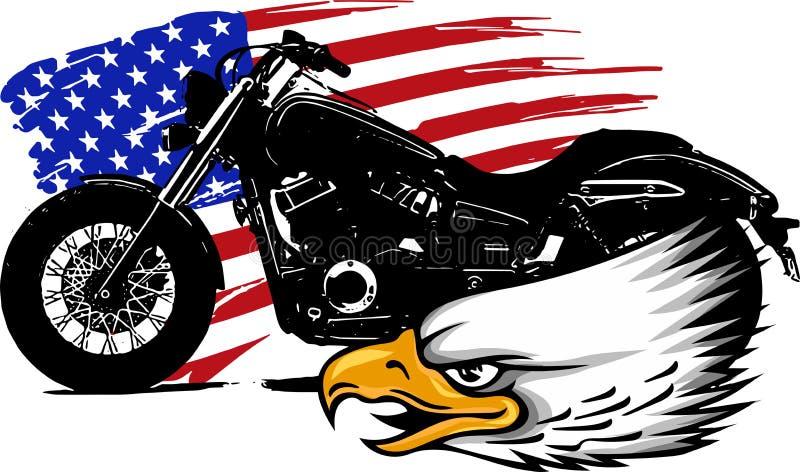 Vektorillustraton en motorcykel med den head örnen och amerikanska flaggan royaltyfri illustrationer