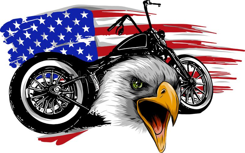 Vektorillustraton en motorcykel med den head örnen och amerikanska flaggan arkivbilder