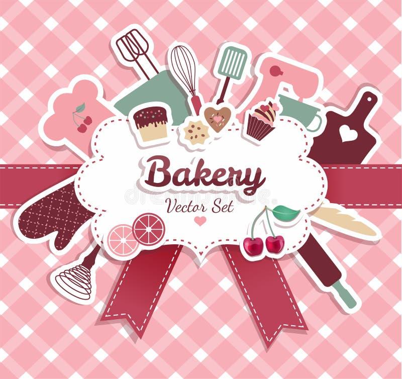 Vektorillustratuon av bagerit stock illustrationer