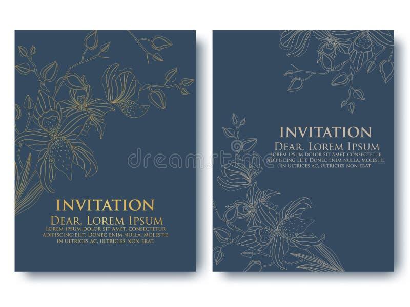 Vektorinbjudan eller bröllop, kort med blom- beståndsdelar Eleganta blom- abstrakt begreppprydnader vektor illustrationer