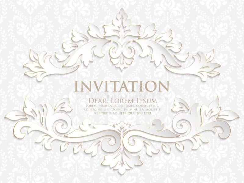 Vektorinbjudan, kort eller bröllopkort med damast bakgrund och eleganta blom- beståndsdelar stock illustrationer