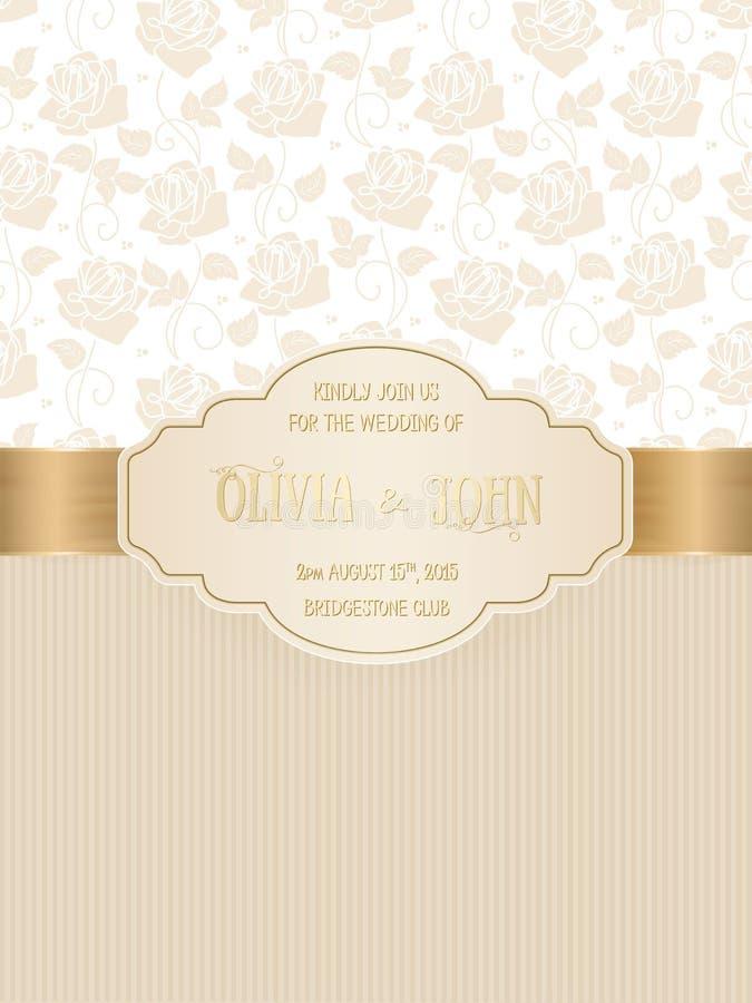 Vektorinbjudan, kort eller bröllopkort med damast bakgrund och eleganta blom- beståndsdelar royaltyfri illustrationer