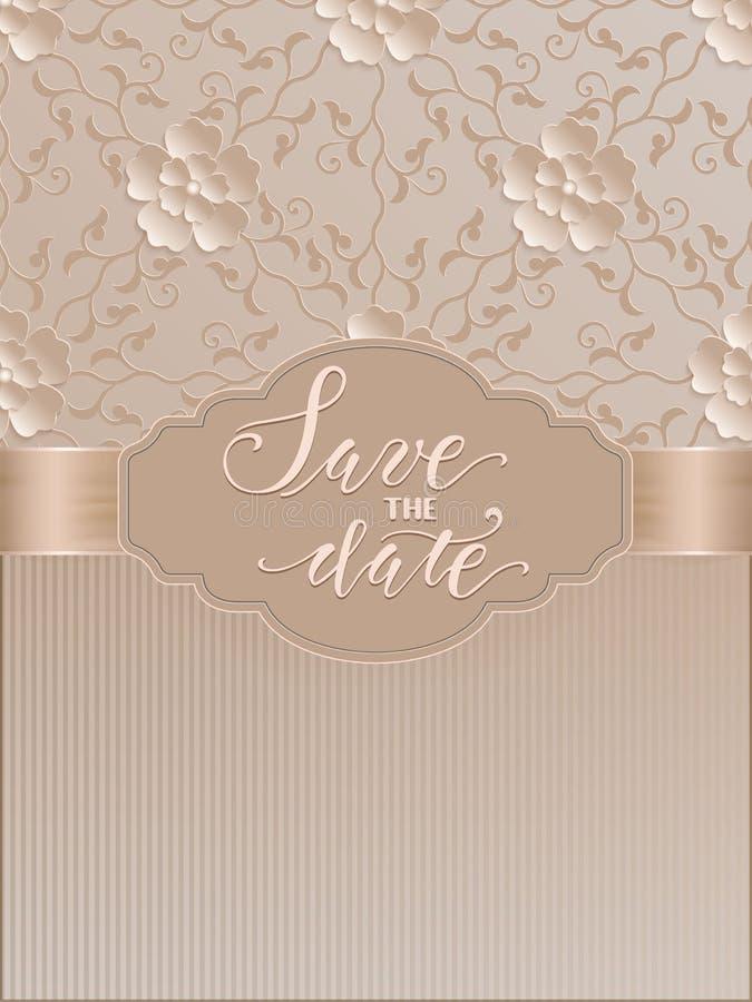 Vektorinbjudan, kort eller bröllopkort med damast bakgrund och eleganta blom- beståndsdelar vektor illustrationer