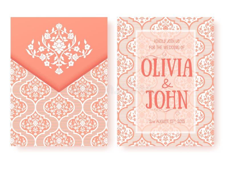 Vektorinbjudan, kort eller bröllopkort med damast bakgrund och eleganta blom- beståndsdelar Arabesquestildesign royaltyfri illustrationer