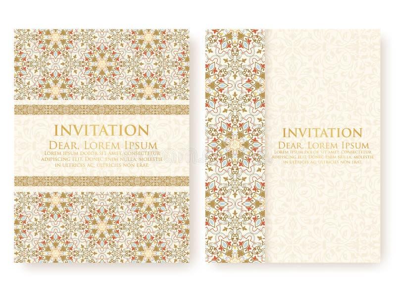 Vektorinbjudan, kort med etniska arabesquebeståndsdelar Arabesquestildesign stock illustrationer