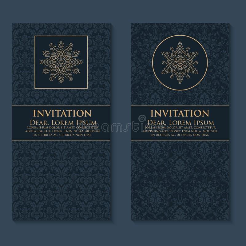 Vektorinbjudan, kort med etniska arabesquebeståndsdelar Arabesquestildesign Eleganta blom- abstrakt begreppprydnader royaltyfri illustrationer