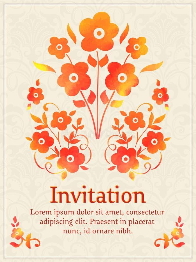 Vektorinbjudankort med den blom- beståndsdelen för vattenfärg på den ljusa damast bakgrunden Arabesquestildesign elegantt royaltyfri illustrationer