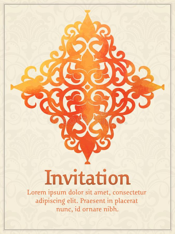 Vektorinbjudankort med den damast beståndsdelen för vattenfärg på den ljusa damast bakgrunden Arabesquestildesign royaltyfri illustrationer