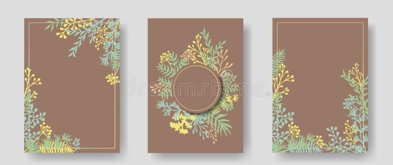 Vektorinbjudankort med växt- ris royaltyfri illustrationer