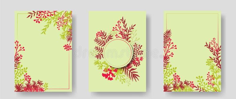 Vektorinbjudankort med växt- ris och filialkransen och hörn gränsar ramar vektor illustrationer