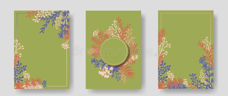 Vektorinbjudankort med växt- ris och filialkransen och hörn gränsar ramar stock illustrationer