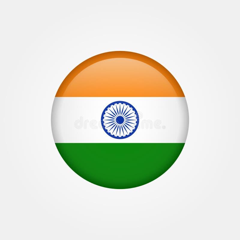Vektorindien-Flaggenikone auf Lager 5 lizenzfreie abbildung