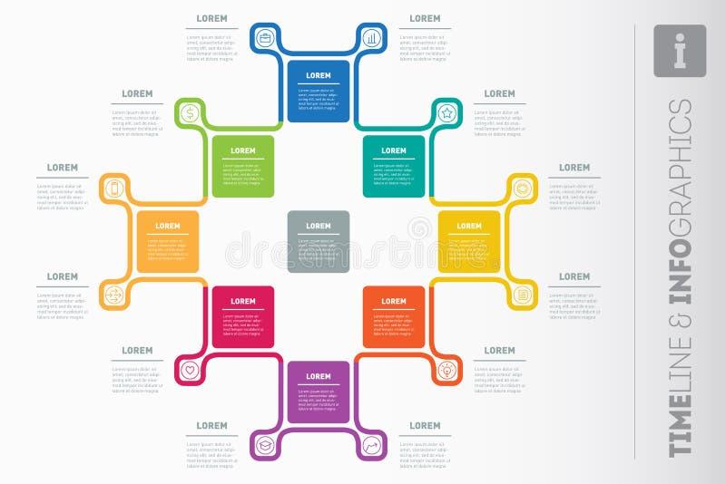 VektorInfographic rapport med symboler Mall för informationsdiagram, royaltyfri illustrationer