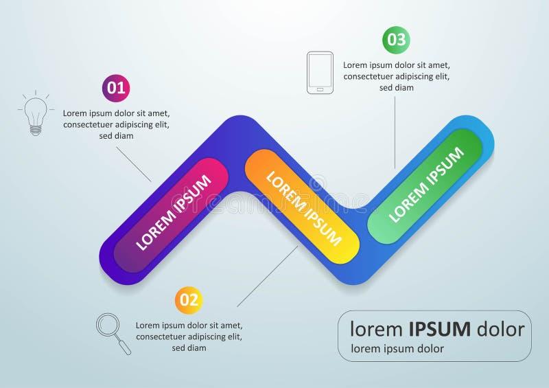 VektorInfographic tunn linje design med symboler och 3 alternativ eller moment Infographics för affärsidé kan användas för stock illustrationer