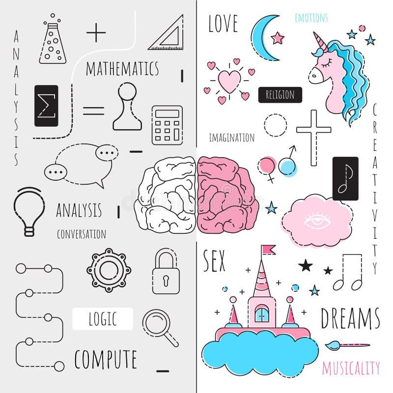 Vektorinfographics den vänstra och högra halvklotet av hjärnan Tecknad filmstil stock illustrationer
