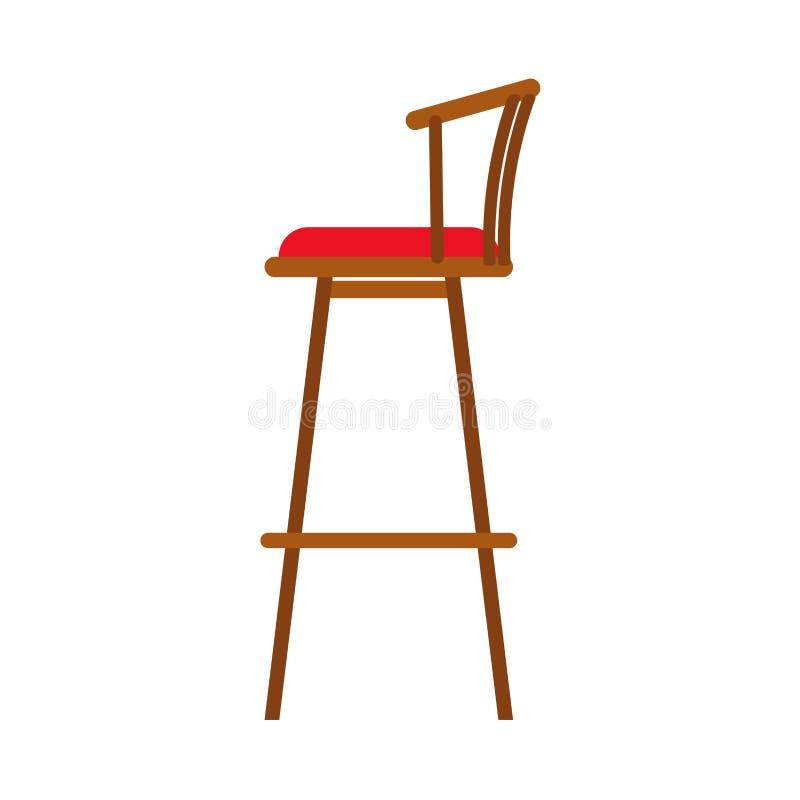 Vektorinnenikone der Seitenansicht der Stuhlküche flache Geräte Sofa-Schemelmöbel der Hauptausrüstung hölzerne Innenraumdesign vektor abbildung