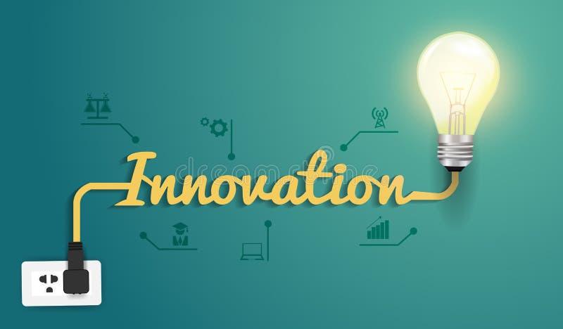 Vektorinnovationbegrepp med den idérika ljusa kulan vektor illustrationer