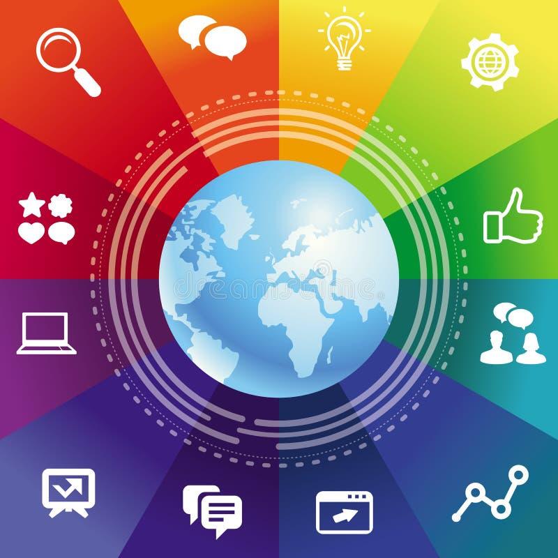 Vektorinternet-Konzept mit Regenbogenhintergrund stock abbildung