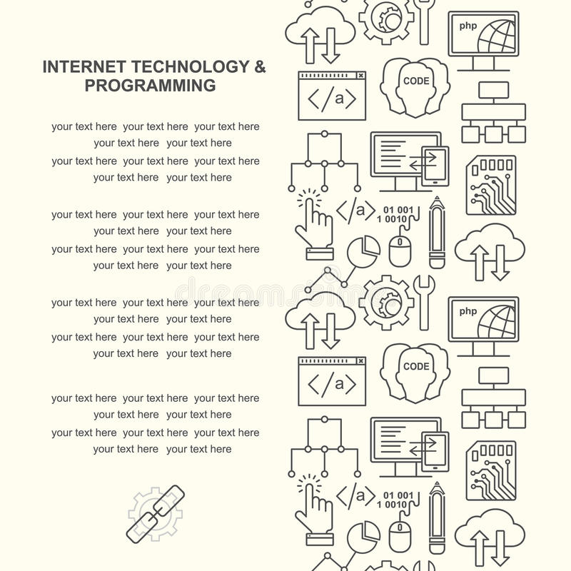 Vektorinternetteknologi och dator som programmerar modellen med linjära symboler stock illustrationer