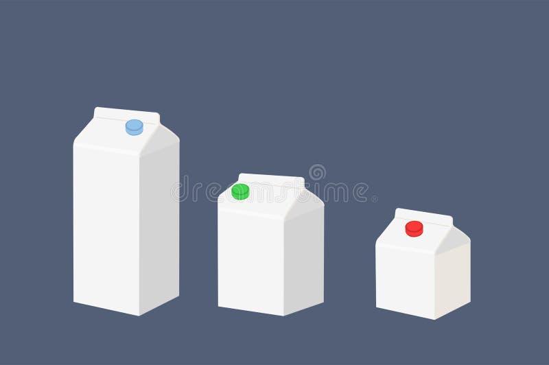 Vektorisolerad illustration av tre olika storlekar av mjölkkartongen, lådan eller brickan royaltyfri illustrationer