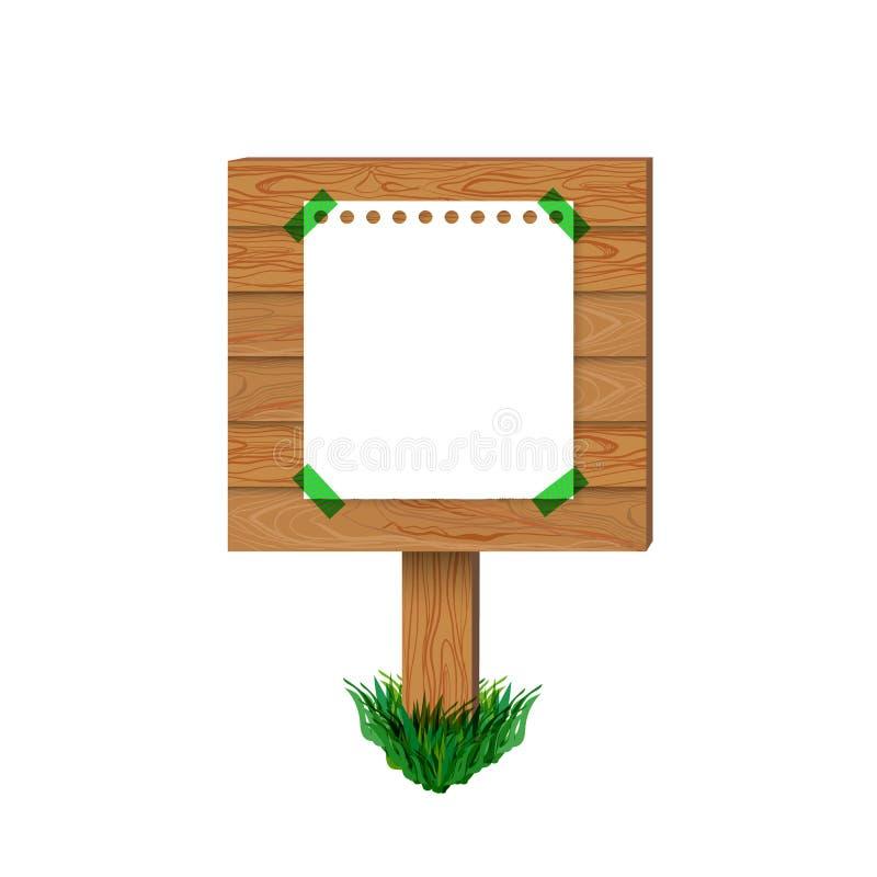 Vektorisolerade trätecknet, pappers- affisch på träbräde, den tomma illustrationen royaltyfri illustrationer