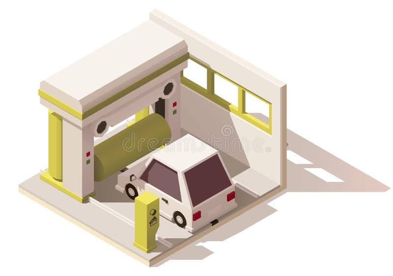 Vektorisometrische niedrige Polywaschanlageikone lizenzfreie abbildung