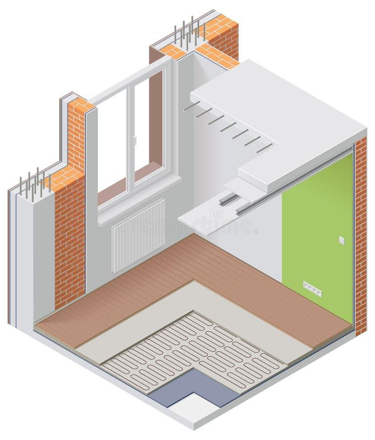 Vektorisometrische Wohnungs-Cutawayikone vektor abbildung