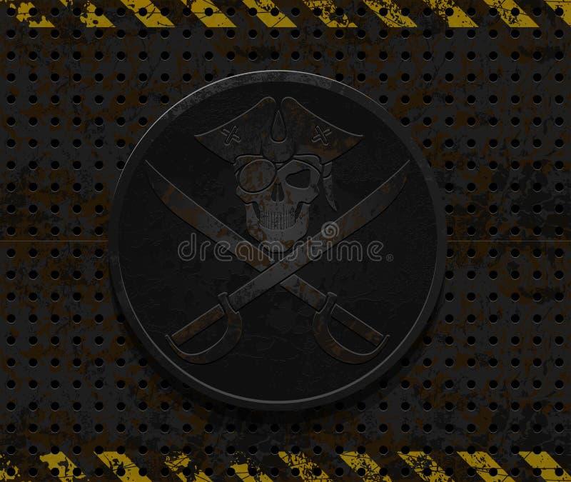 Vektorjärn piratkopierar emblemet vektor illustrationer