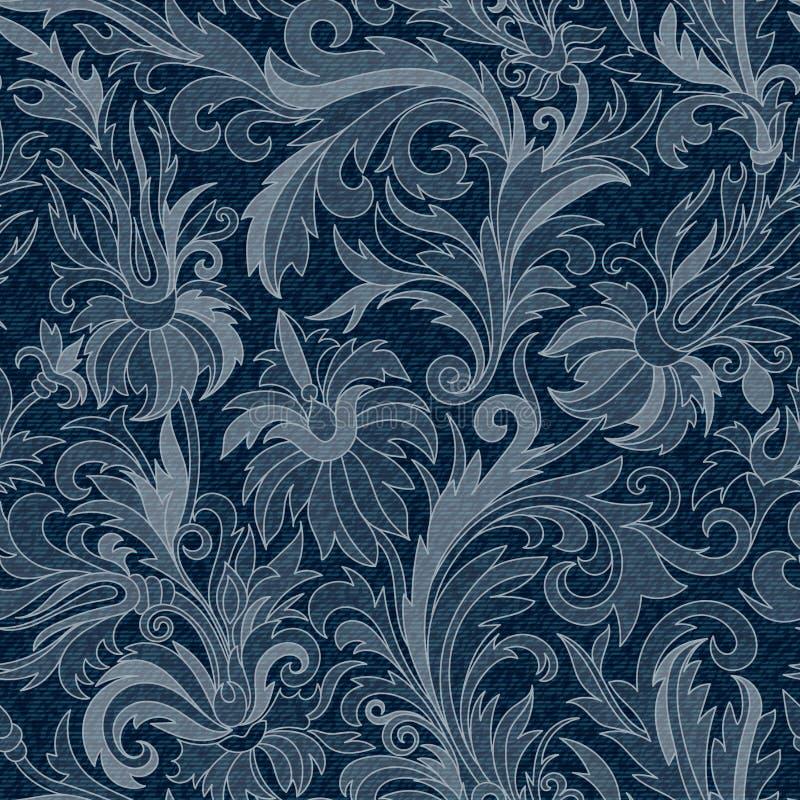 Vektorjeansbakgrund med blommor Sömlös modell för grov bomullstvill blå tygjeans blom- grunge för bakgrund stock illustrationer