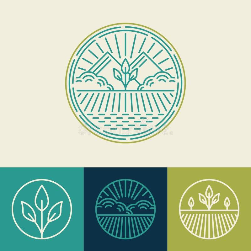 Vektorjordbruk och organisk lantgårdlinje logoer royaltyfri illustrationer
