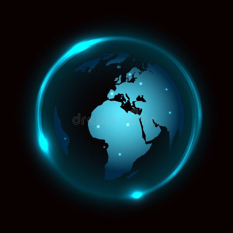 Vektorjordklot på mörk bakgrund med blått neonljus royaltyfri illustrationer